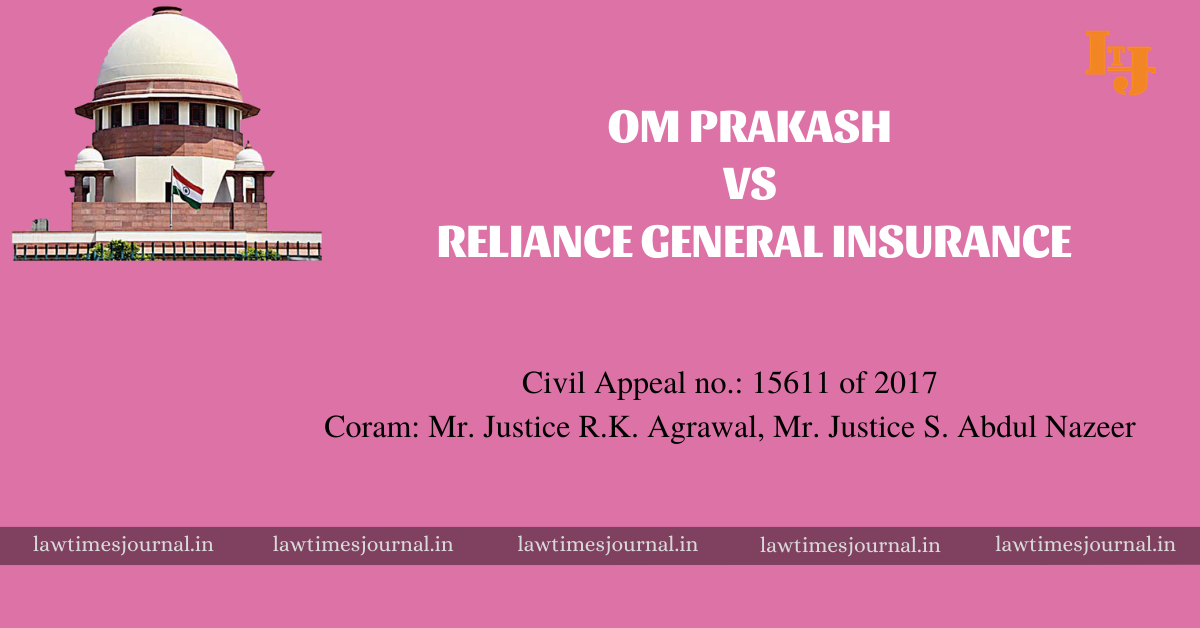 Om Prakash vs Reliance General Insuarance